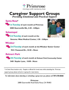 Caregiver Support Groups flier