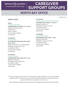 Alzheimer's Association Caregiver Support Groups in Northern California