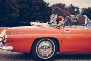 Seniors Driving Convertible